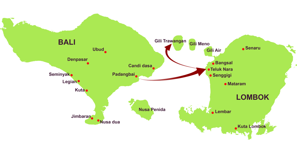 route of wahana gili ocean